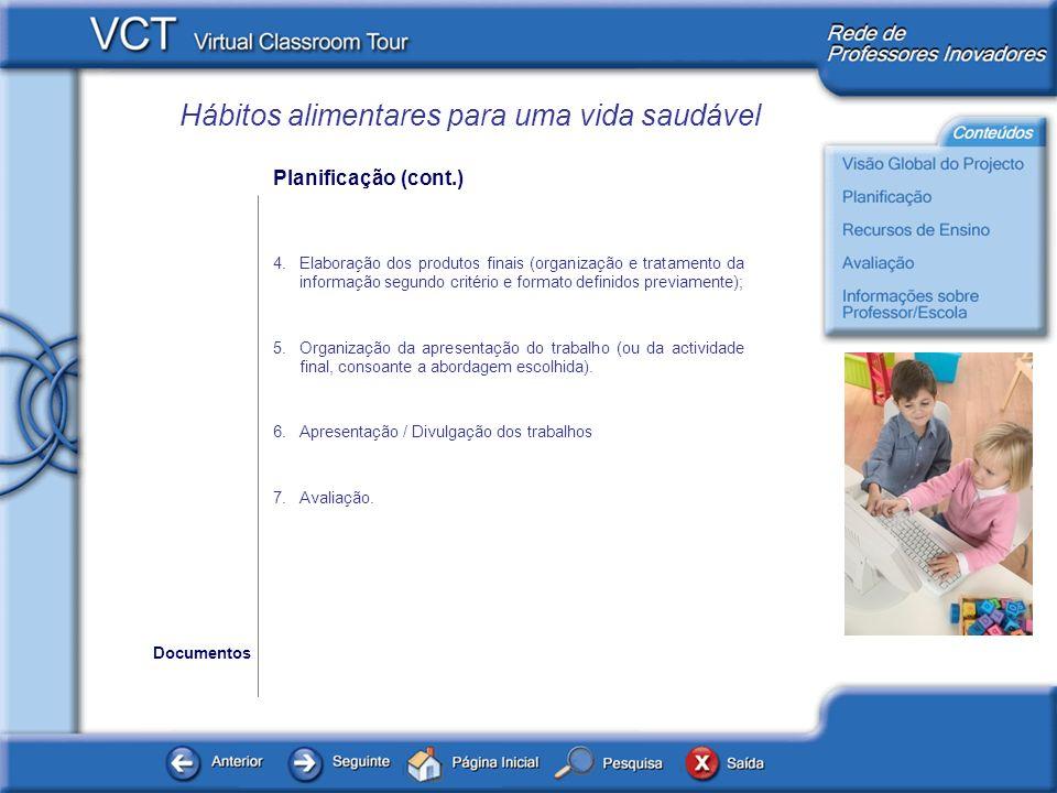 Hábitos alimentares para uma vida saudável Recursos de Ensino Os documentos disponibilizados em baixo são os que surgem referidos na planificação do projecto, servindo de base às actividades propostas.
