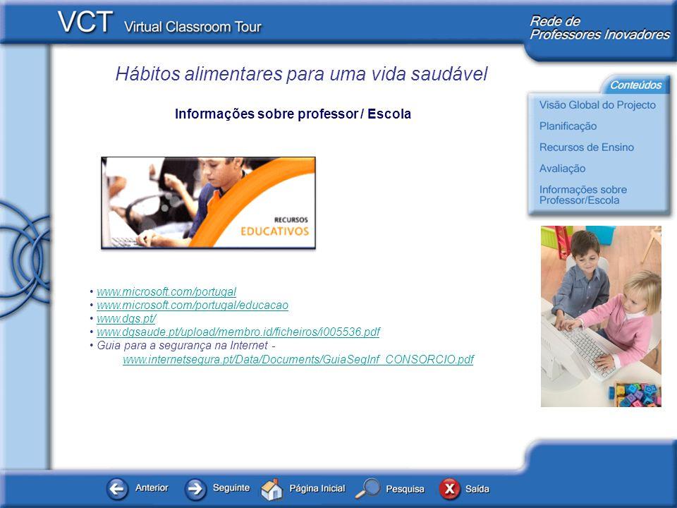 Hábitos alimentares para uma vida saudável Informações sobre professor / Escola www.microsoft.com/portugal www.microsoft.com/portugal/educacao www.dgs