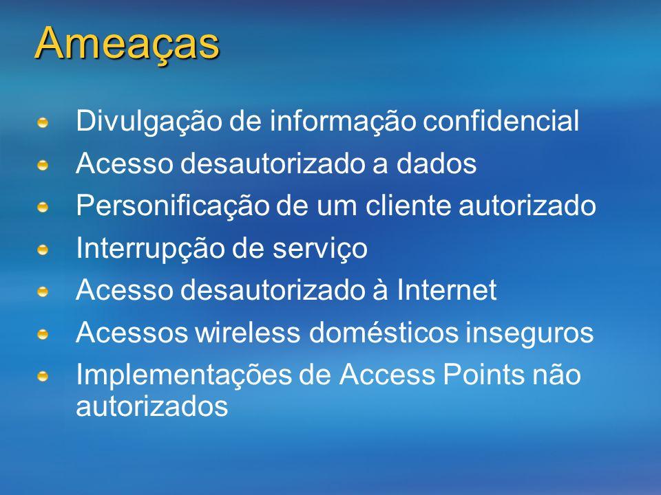 Ameaças Divulgação de informação confidencial Acesso desautorizado a dados Personificação de um cliente autorizado Interrupção de serviço Acesso desau
