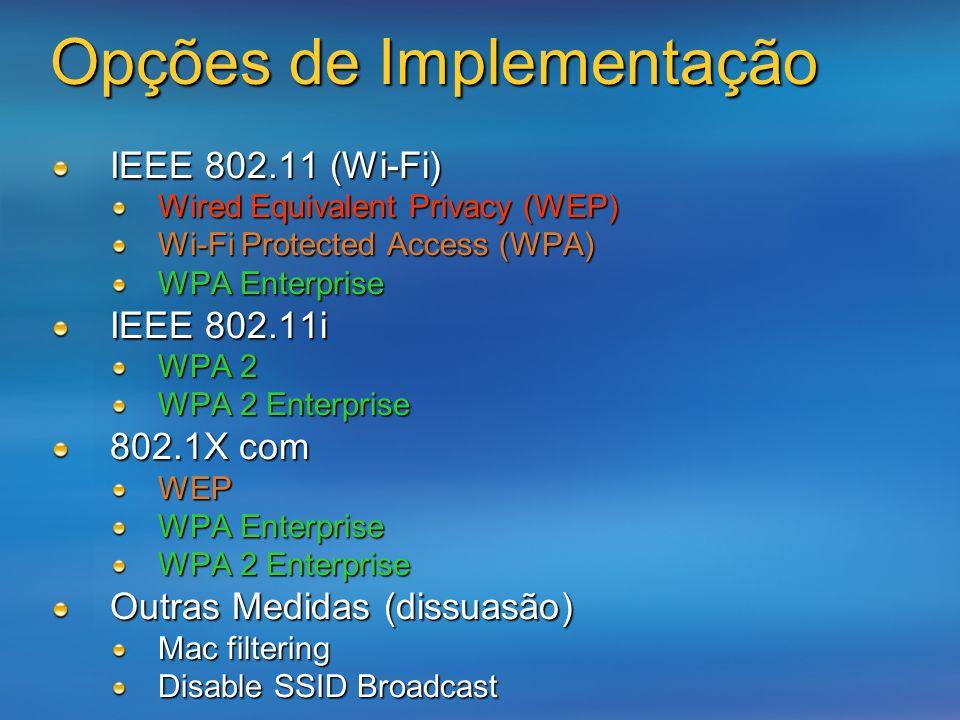 Opções de Implementação IEEE 802.11 (Wi-Fi) Wired Equivalent Privacy (WEP) Wi-Fi Protected Access (WPA) WPA Enterprise IEEE 802.11i WPA 2 WPA 2 Enterp