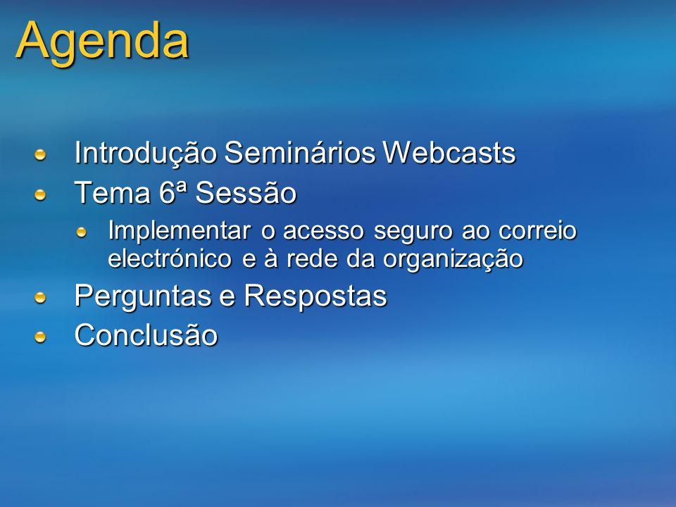 Agenda Introdução Seminários Webcasts Tema 6ª Sessão Implementar o acesso seguro ao correio electrónico e à rede da organização Perguntas e Respostas
