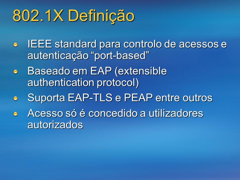 802.1X Definição IEEE standard para controlo de acessos e autenticação port-based Baseado em EAP (extensible authentication protocol) Suporta EAP-TLS
