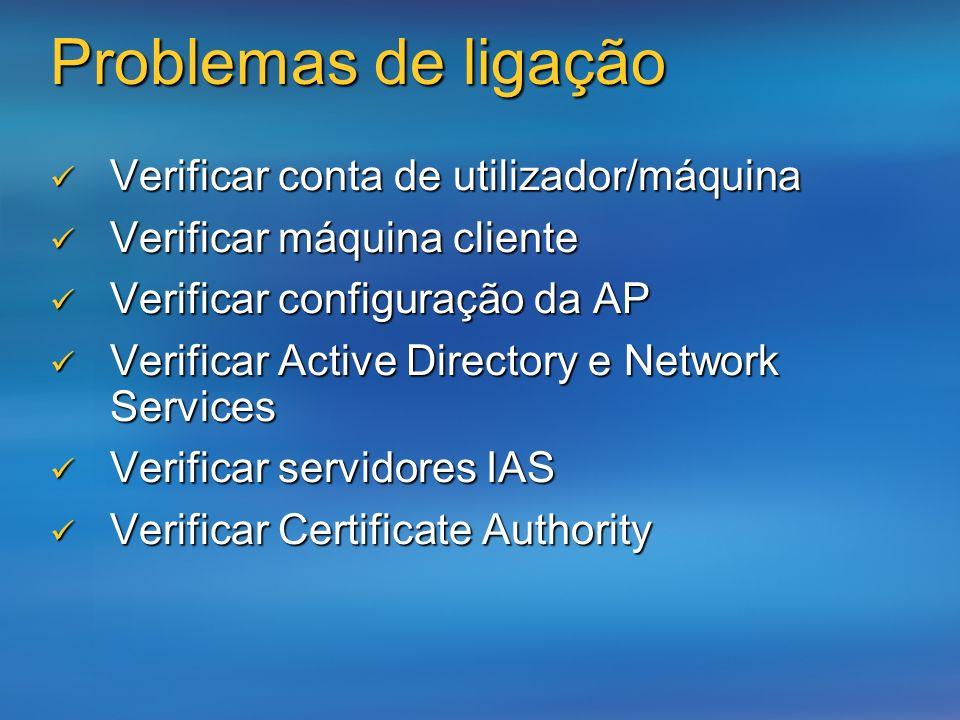Problemas de ligação Verificar conta de utilizador/máquina Verificar conta de utilizador/máquina Verificar máquina cliente Verificar máquina cliente V