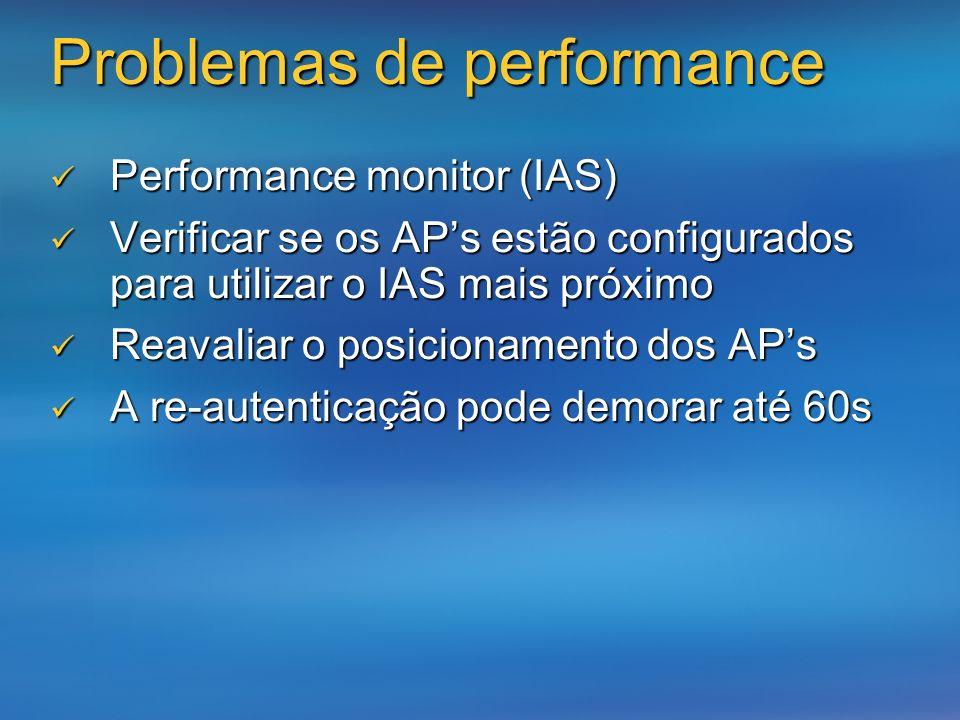 Problemas de performance Performance monitor (IAS) Performance monitor (IAS) Verificar se os APs estão configurados para utilizar o IAS mais próximo V