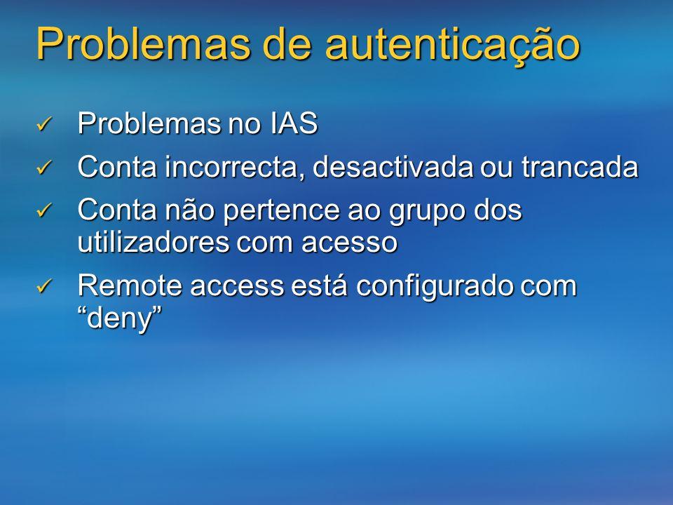 Problemas de autenticação Problemas no IAS Problemas no IAS Conta incorrecta, desactivada ou trancada Conta incorrecta, desactivada ou trancada Conta