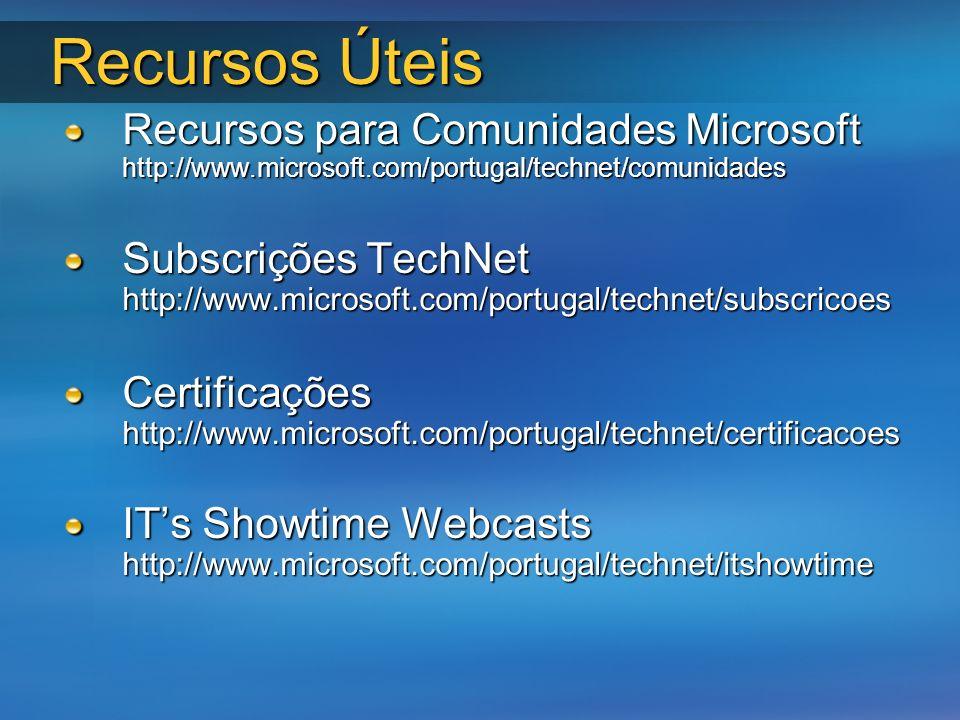 Recursos Úteis Recursos para Comunidades Microsoft http://www.microsoft.com/portugal/technet/comunidades Subscrições TechNet http://www.microsoft.com/