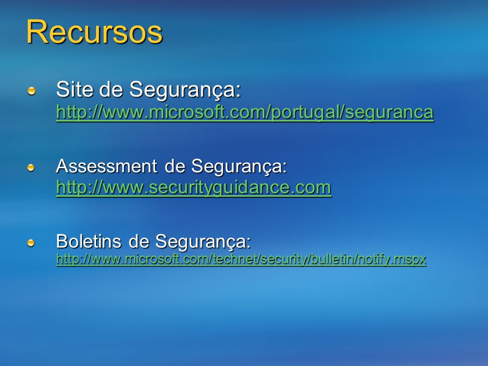 Recursos Microsoft Wireless Networking Web site http://www.microsoft.com/wifi Windows XP Wireless Deployment Technology and Component Overview http://www.microsoft.com/technet/prodtechnol/winxppro/maintain/wific omp.mspx http://www.microsoft.com/technet/prodtechnol/winxppro/maintain/wific omp.mspx http://www.microsoft.com/technet/prodtechnol/winxppro/maintain/wific omp.mspx Enterprise Deployment of Secure 802.11 Networks Using Microsoft Windows http://www.microsoft.com/technet/prodtechnol/winxppro/deploy/ed8021 1.mspx http://www.microsoft.com/technet/prodtechnol/winxppro/deploy/ed8021 1.mspx http://www.microsoft.com/technet/prodtechnol/winxppro/deploy/ed8021 1.mspx Configuring Windows XP IEEE 802.11 Wireless Networks for the Home and Small Business http://www.microsoft.com/technet/prodtechnol/winxppro/maintain/wifis oho.mspx http://www.microsoft.com/technet/prodtechnol/winxppro/maintain/wifis oho.mspx http://www.microsoft.com/technet/prodtechnol/winxppro/maintain/wifis oho.mspx WEP: Dead Again, Part 1 http://www.securityfocus.com/infocus/1814 http://www.securityfocus.com/infocus/1814