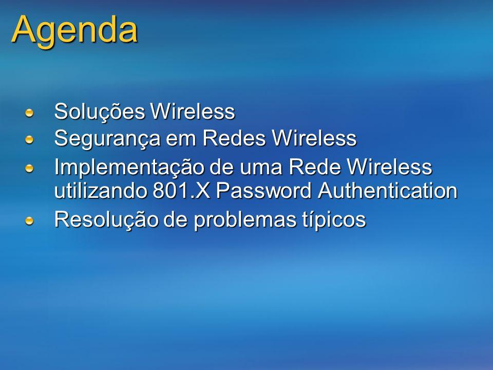 Agenda Soluções Wireless Segurança em Redes Wireless Implementação de uma Rede Wireless utilizando 801.X Password Authentication Resolução de problema