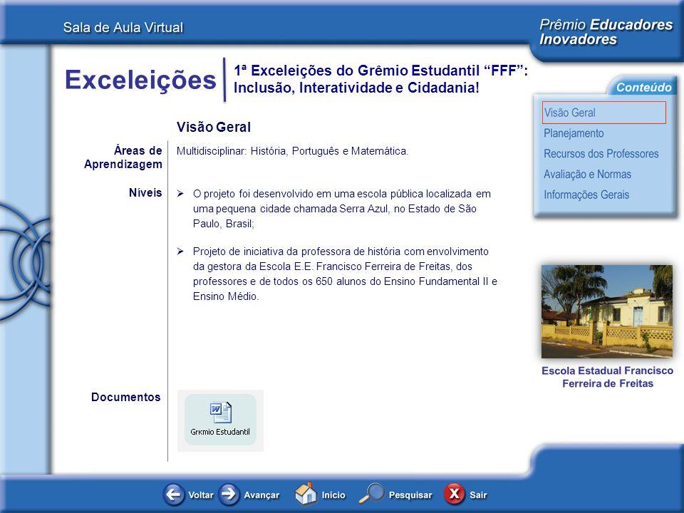 Exceleições 1ª Exceleições do Grêmio Estudantil FFF: Inclusão, Interatividade e Cidadania! Áreas de Aprendizagem Multidisciplinar: História, Português