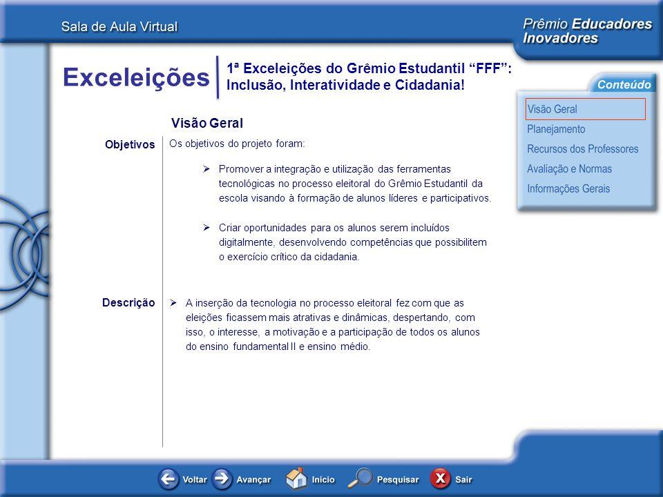 Exceleições 1ª Exceleições do Grêmio Estudantil FFF: Inclusão, Interatividade e Cidadania! Visão Geral Os objetivos do projeto foram: Promover a integ