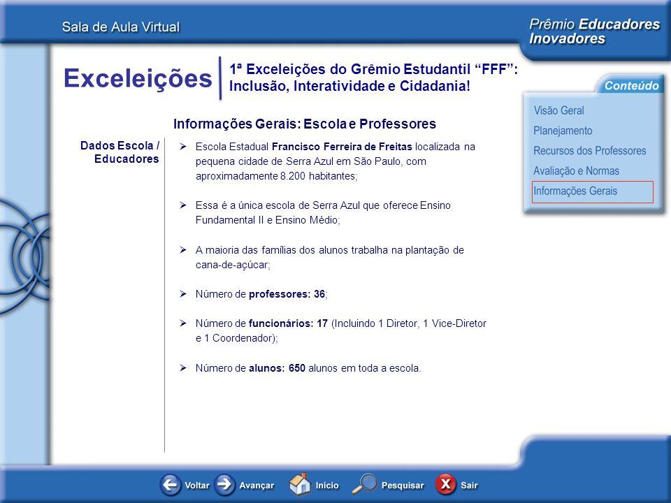 Exceleições 1ª Exceleições do Grêmio Estudantil FFF: Inclusão, Interatividade e Cidadania! Dados Escola / Educadores Escola Estadual Francisco Ferreir