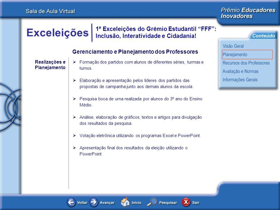 Exceleições 1ª Exceleições do Grêmio Estudantil FFF: Inclusão, Interatividade e Cidadania! Gerenciamento e Planejamento dos Professores Realizações e