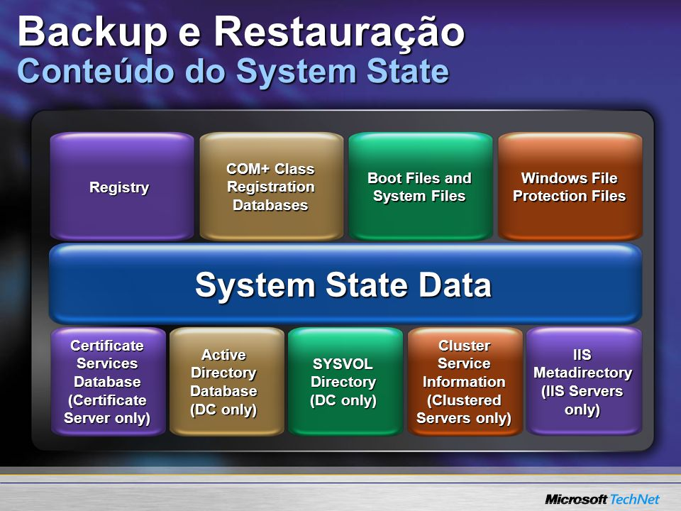 System State Data COM+ Class Registration Databases Boot Files and System Files Registry Windows File Protection Files Active Directory Database (DC o