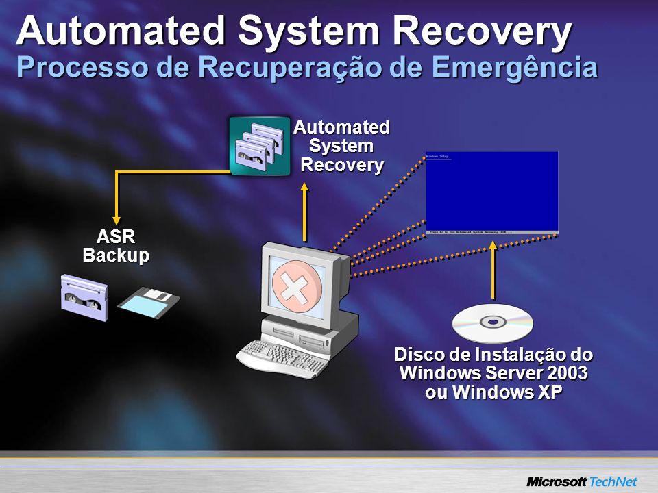 Automated System Recovery ASR Backup Disco de Instalação do Windows Server 2003 ou Windows XP Automated System Recovery Processo de Recuperação de Eme