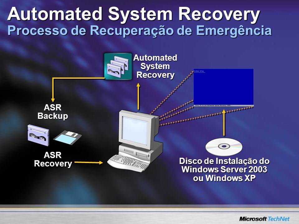 Automated System Recovery ASR Backup Disco de Instalação do Windows Server 2003 ou Windows XP ASR Recovery Automated System Recovery Processo de Recup