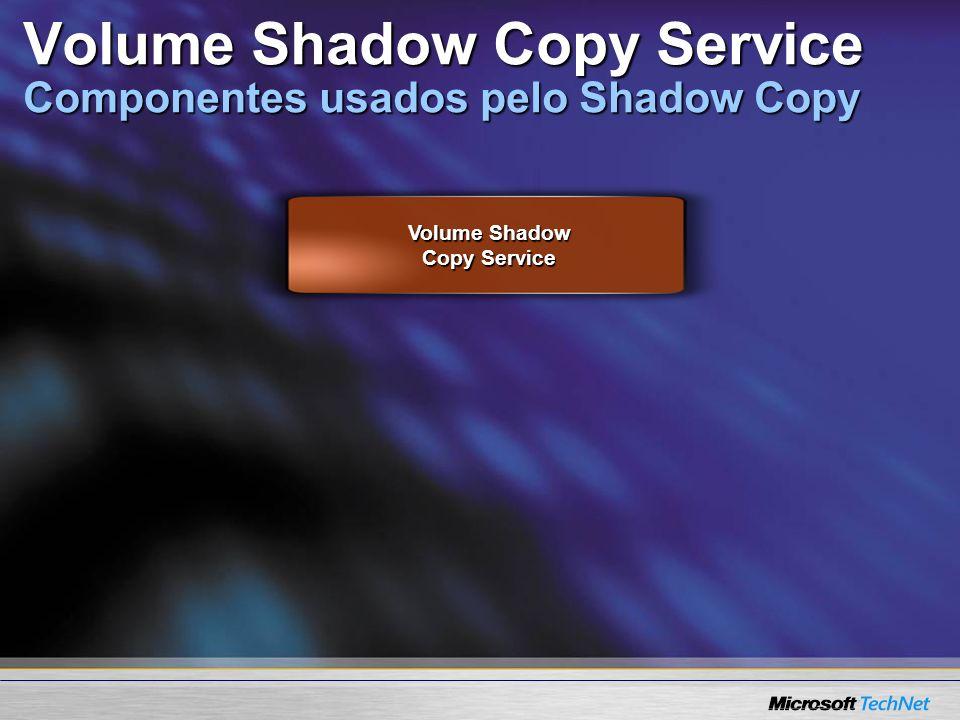 Volume Shadow Copy Service Volume Shadow Copy Service Componentes usados pelo Shadow Copy