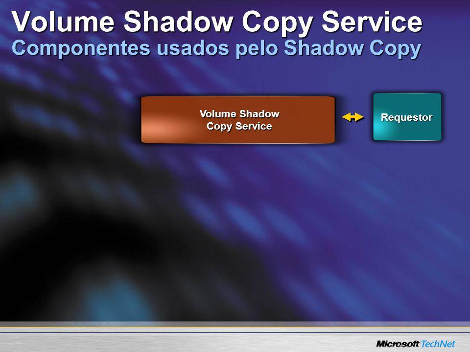 Requestor Volume Shadow Copy Service Volume Shadow Copy Service Componentes usados pelo Shadow Copy