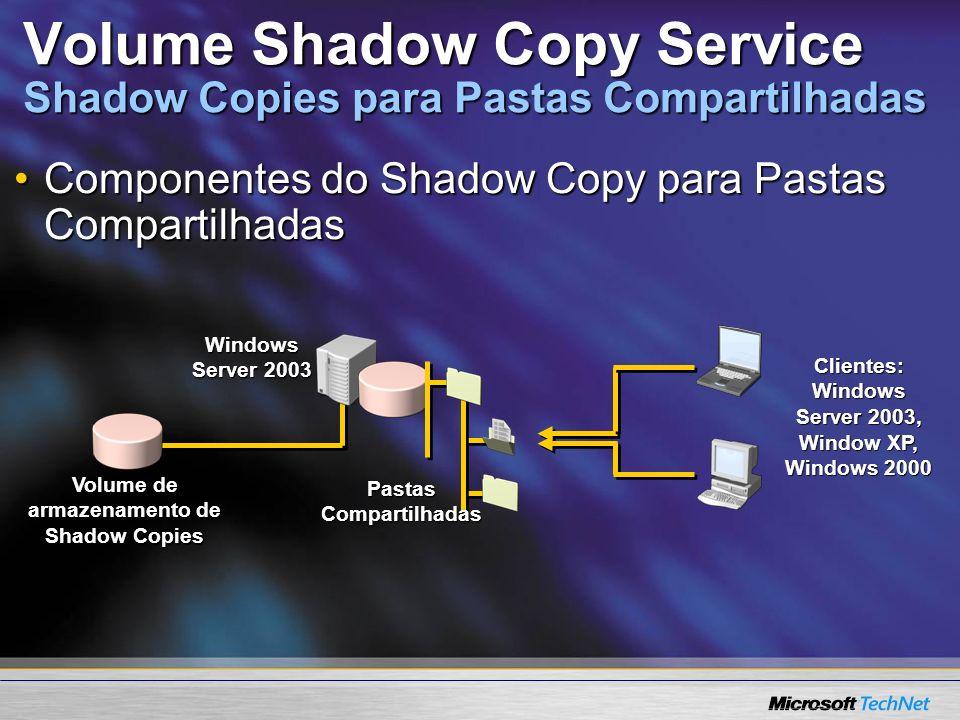 Volume Shadow Copy Service Shadow Copies para Pastas Compartilhadas Componentes do Shadow Copy para Pastas CompartilhadasComponentes do Shadow Copy pa
