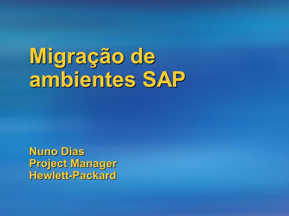 Método migração SAP - R3load Heterogeneous System Copy anyDB Source Files anyDB Destination Export Transfer Import FTP, tape,..