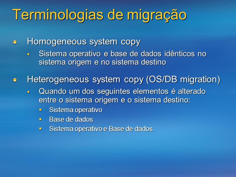 Homogeneous system copy Sistema operativo e base de dados idênticos no sistema origem e no sistema destino Sistema operativo e base de dados idênticos
