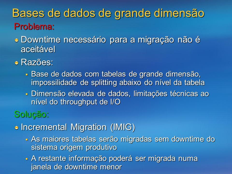 Problema: Downtime necessário para a migração não é aceitável Razões: Base de dados com tabelas de grande dimensão, impossilidade de splitting abaixo