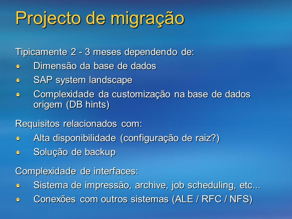 Projecto de migração Tipicamente 2 - 3 meses dependendo de: Dimensão da base de dados SAP system landscape Complexidade da customização na base de dad