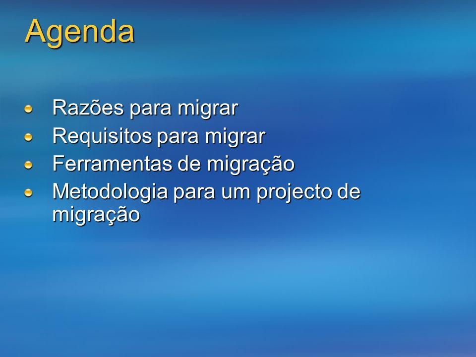 Razões para migrar Requisitos para migrar Ferramentas de migração Metodologia para um projecto de migração Agenda
