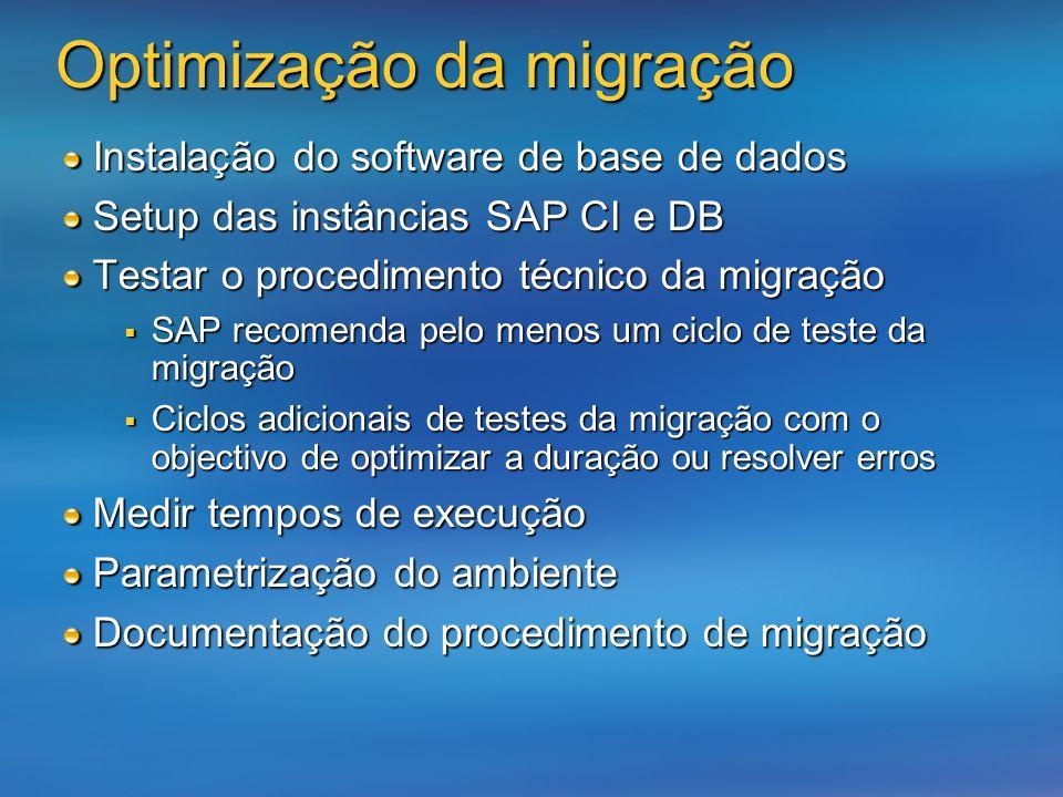 Instalação do software de base de dados Setup das instâncias SAP CI e DB Testar o procedimento técnico da migração SAP recomenda pelo menos um ciclo d
