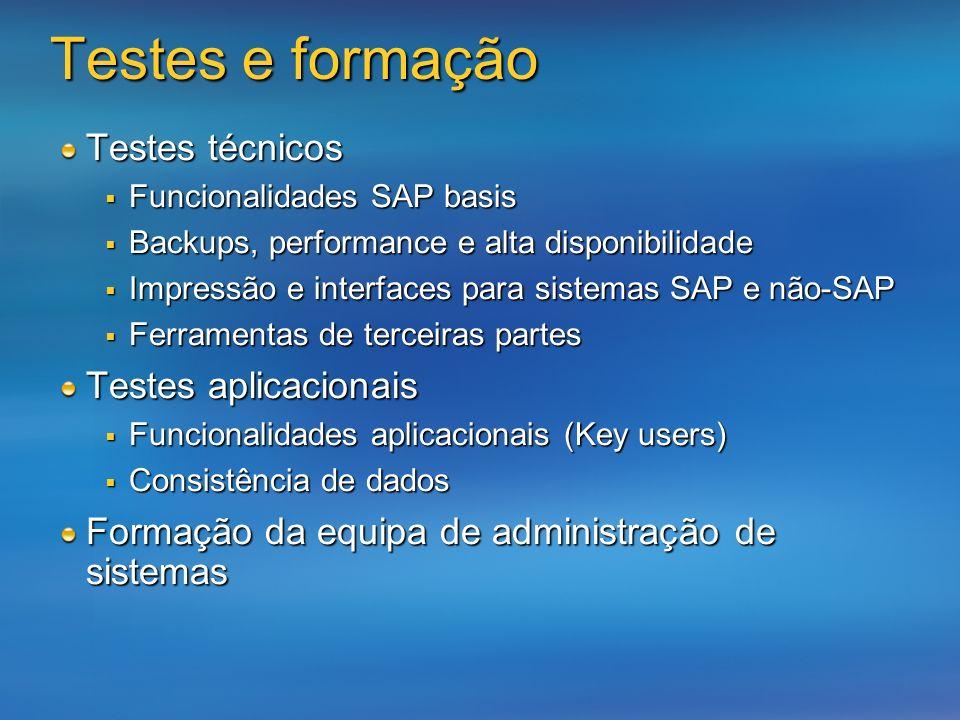 Testes técnicos Funcionalidades SAP basis Funcionalidades SAP basis Backups, performance e alta disponibilidade Backups, performance e alta disponibil