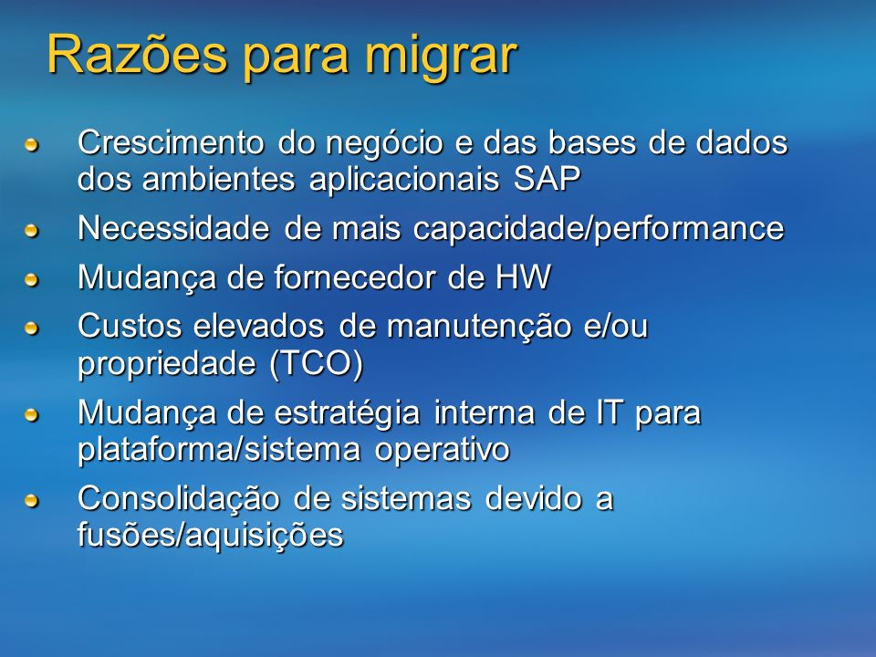 Online window: Criar o sistema destino instalando um ambiente SAP Criar o sistema destino instalando um ambiente SAP Analizar e selecionar as tabelas com o maior runtime durante a migração Analizar e selecionar as tabelas com o maior runtime durante a migração Inicializar e efectuar a criação das tabelas selecionadas como IMIG-tables no sistema destino Inicializar e efectuar a criação das tabelas selecionadas como IMIG-tables no sistema destino Actualizar as IMIG-tables para o sistema destino via método RFC Actualizar as IMIG-tables para o sistema destino via método RFC Downtime window: Utilizar o processo standard de cópia para migrar as restantes tabelas (non-IMIG tables) Utilizar o processo standard de cópia para migrar as restantes tabelas (non-IMIG tables) Terminar a actualização das IMIG tables Terminar a actualização das IMIG tables Método migração SAP - IMIG cont.