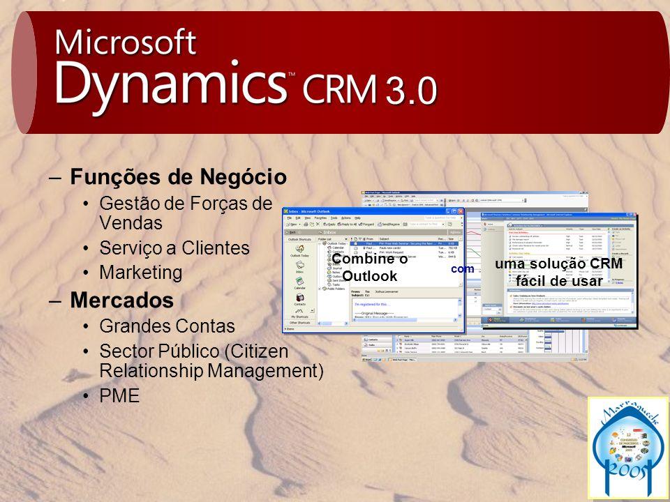 3.0 Combine o Outlook uma solução CRM fácil de usar com –Funções de Negócio Gestão de Forças de Vendas Serviço a Clientes Marketing –Mercados Grandes