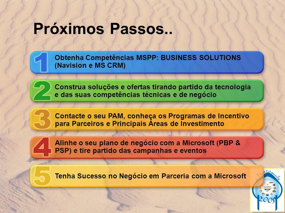Próximos Passos.. Obtenha Competências MSPP: BUSINESS SOLUTIONS (Navision e MS CRM) Construa soluções e ofertas tirando partido da tecnologia e das su