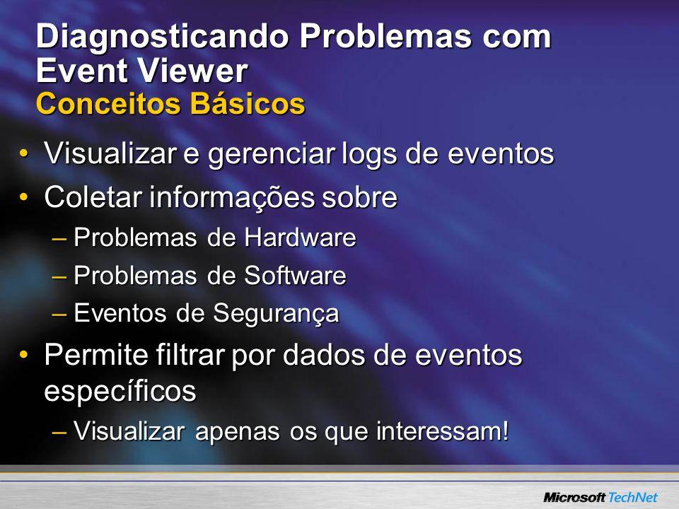 Diagnosticando Problemas com Event Viewer Conceitos Básicos Visualizar e gerenciar logs de eventosVisualizar e gerenciar logs de eventos Coletar infor