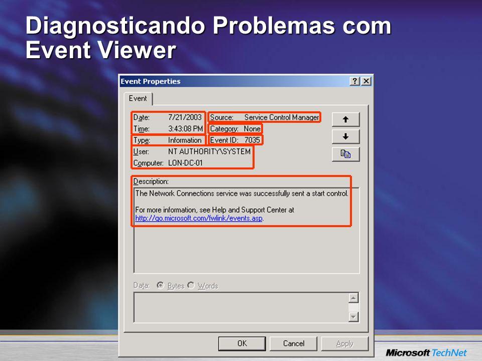 Diagnosticando Problemas com Event Viewer