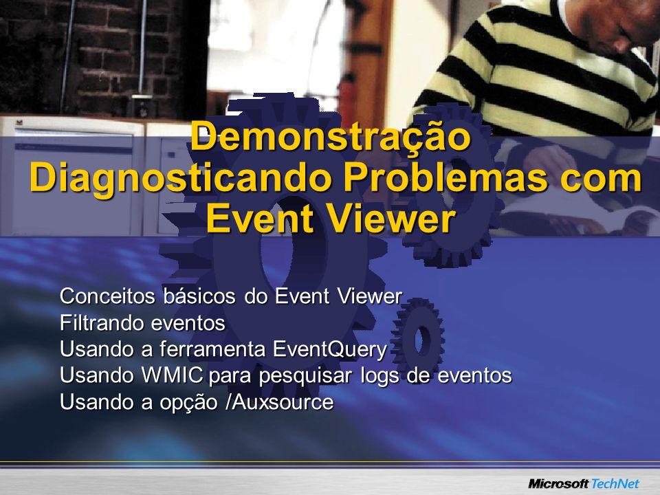 Demonstração Diagnosticando Problemas com Event Viewer Demonstração Diagnosticando Problemas com Event Viewer Conceitos básicos do Event Viewer Filtra