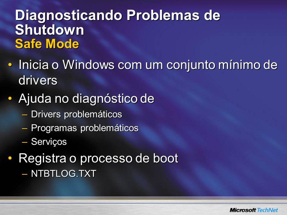 Diagnosticando Problemas de Shutdown Safe Mode Inicia o Windows com um conjunto mínimo de driversInicia o Windows com um conjunto mínimo de drivers Aj