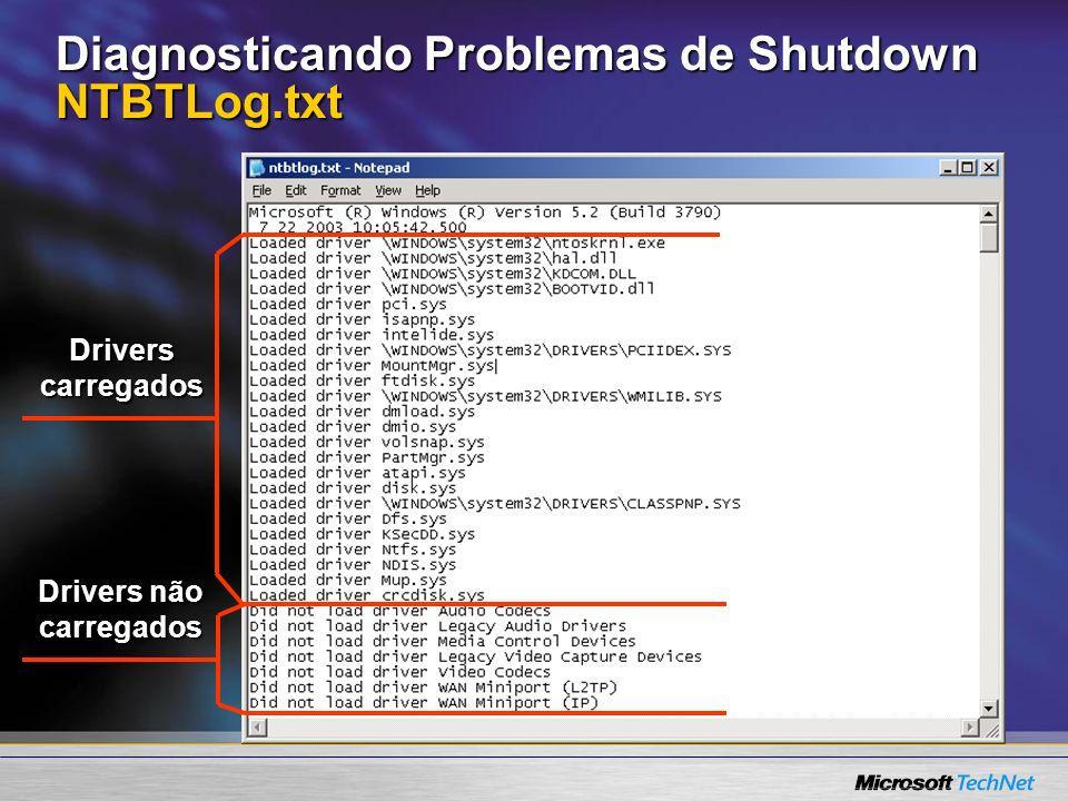 Diagnosticando Problemas de Shutdown NTBTLog.txt Drivers carregados Drivers não carregados