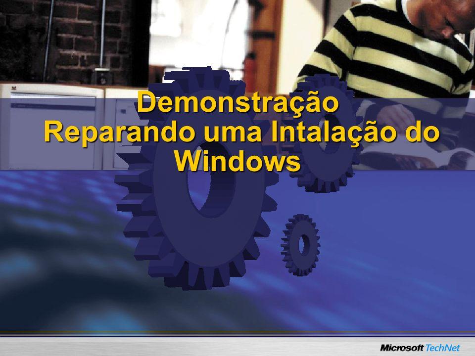 Demonstração Reparando uma Intalação do Windows