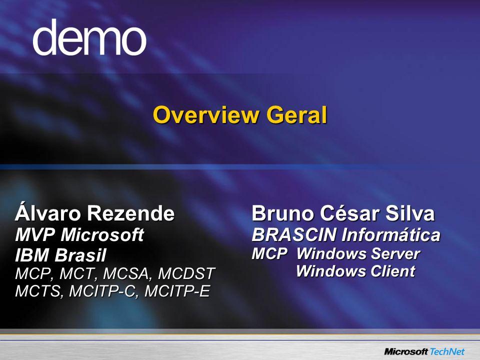 Overview Geral Álvaro Rezende MVP Microsoft IBM Brasil MCP, MCT, MCSA, MCDST MCTS, MCITP-C, MCITP-E Bruno César Silva BRASCIN Informática MCP Windows