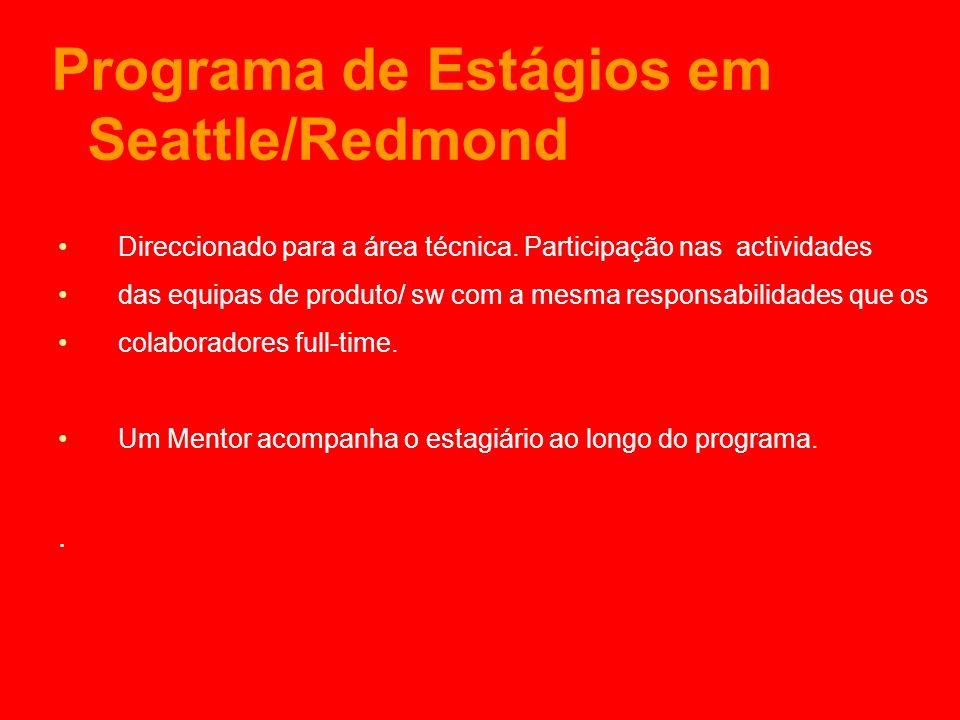 Programa de Estágios em Seattle/Redmond Direccionado para a área técnica.