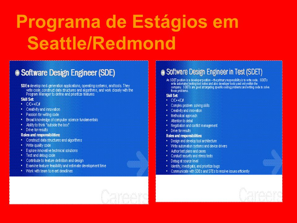 Programa de Estágios em Seattle/Redmond