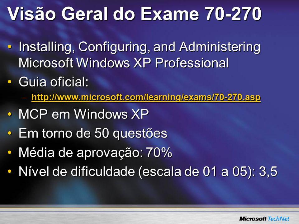 Visão Geral do Exame 70-270 Ao passar no Exame 70-270:Ao passar no Exame 70-270: –MCP em Windows XP –Um Exame Core do MCSE - 2000 (tot 6 exam) –Um Exame Core do MCSE - 2003 (tot 7 exam) –Um Exame Core do MCSA - 2000 (tot 4 exam) –Um Exame Core do MCSA - 2003 (tot 4 exam)