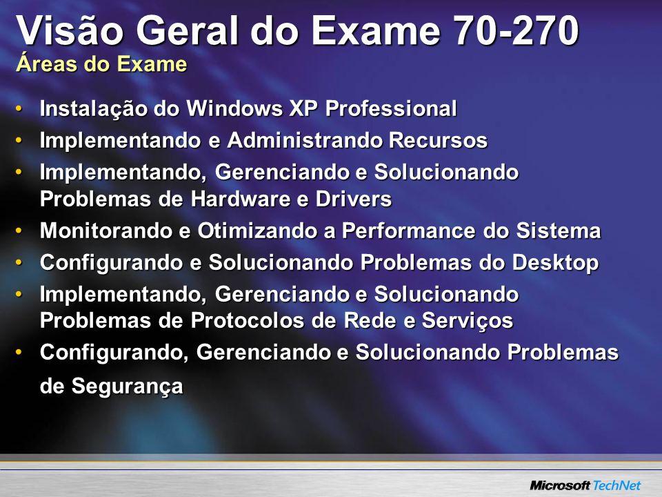 Visão Geral do Exame 70-270 Áreas do Exame Instalação do Windows XP ProfessionalInstalação do Windows XP Professional Implementando e Administrando Re