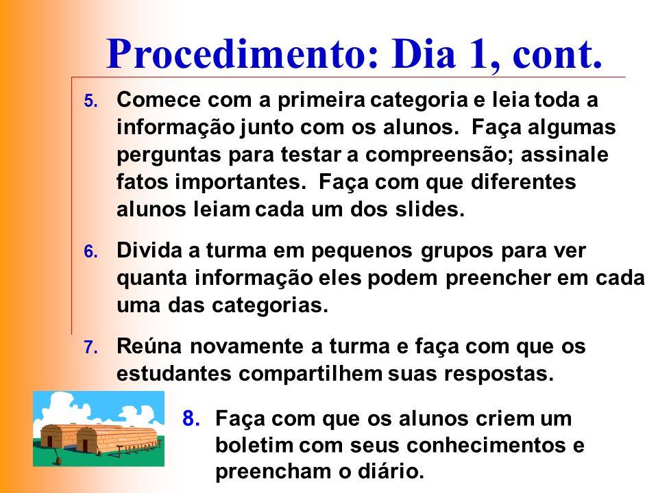 Procedimento: Dia 1, cont. 5. Comece com a primeira categoria e leia toda a informação junto com os alunos. Faça algumas perguntas para testar a compr