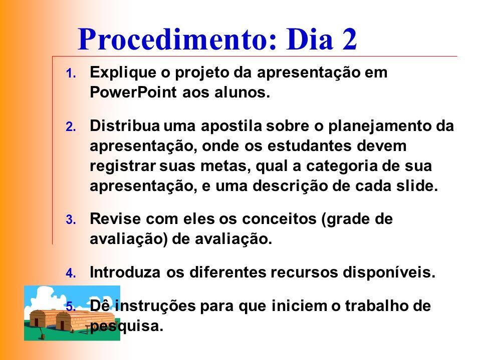 1. Explique o projeto da apresentação em PowerPoint aos alunos. 2. Distribua uma apostila sobre o planejamento da apresentação, onde os estudantes dev