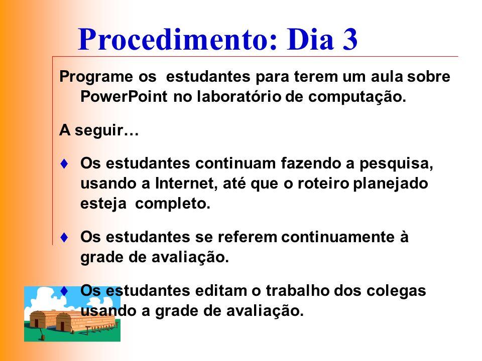 Programe os estudantes para terem um aula sobre PowerPoint no laboratório de computação. A seguir… Os estudantes continuam fazendo a pesquisa, usando