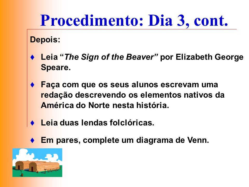 Depois: Leia The Sign of the Beaver por Elizabeth George Speare. Faça com que os seus alunos escrevam uma redação descrevendo os elementos nativos da