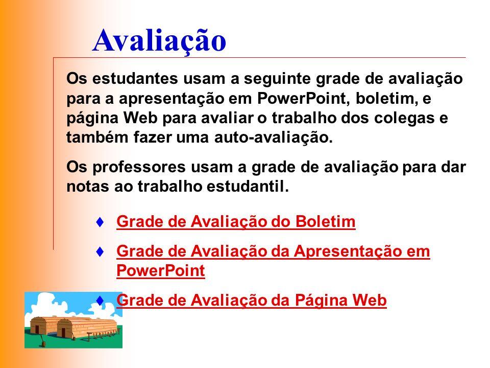 Avaliação Os estudantes usam a seguinte grade de avaliação para a apresentação em PowerPoint, boletim, e página Web para avaliar o trabalho dos colega
