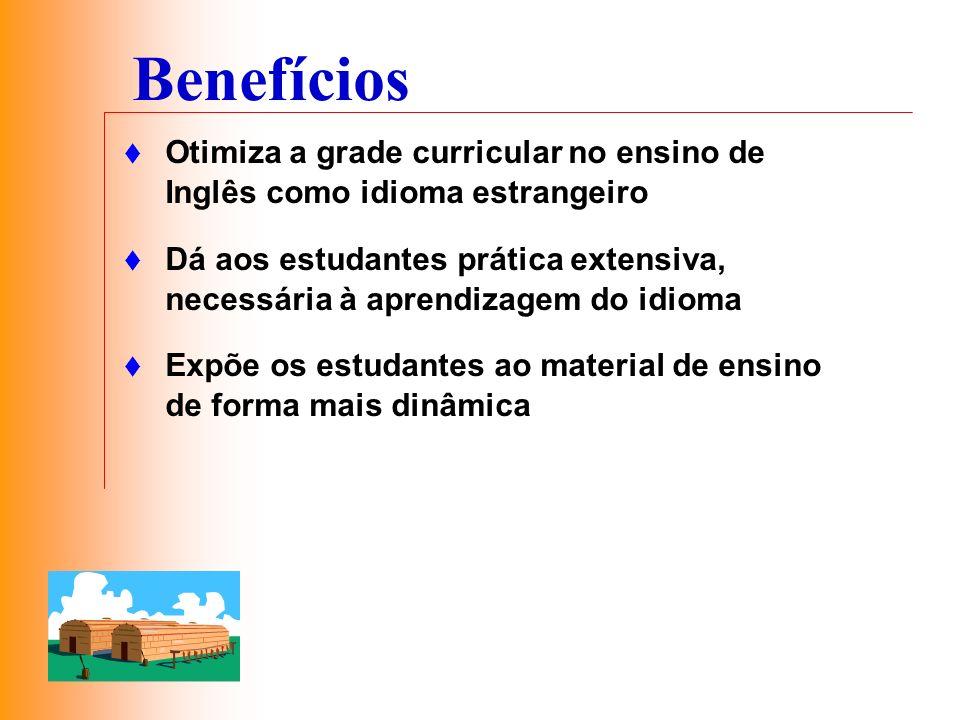 Benefícios Otimiza a grade curricular no ensino de Inglês como idioma estrangeiro Dá aos estudantes prática extensiva, necessária à aprendizagem do id