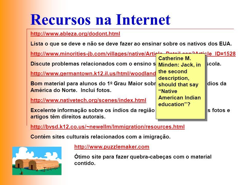 Recursos na Internet http://www.ableza.org/dodont.html Lista o que se deve e não se deve fazer ao ensinar sobre os nativos dos EUA. http://www.minorit
